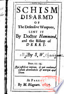 Schism disarmed of the defensive weapons lent it by Doctor Hammond and the Bishop of Derry  By S  W
