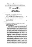 Hastings Communications And Entertainment Law Journal (Comm/Ent) : ...