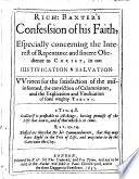 Rich. Baxter's Confesssion [sic] of His Faith