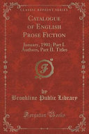 Catalogue of English Prose Fiction