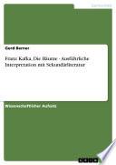 Franz Kafka, Die Bäume - Ausführliche Interpretation mit Sekundärliteratur
