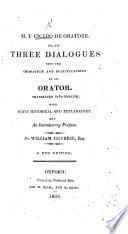 M  T  Cicero de Oratore     Translated into English  With notes     and an introductory preface  By William Guthrie     A new edition