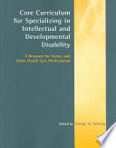 Core Curriculum For Specializing In Intellectual And Developmental Disability book