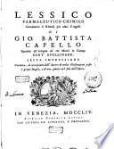 Lessico farmaceutico-chimico contenente li rimedj piu usati d'oggidi di Gio. Battista Capello ...
