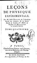Leçons de physique expérimentale, tome IV