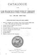 Catalogue Of The San Francisco Free Public Library : ...