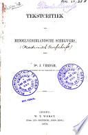 Tekstcritiek van Middelnederlandsche schrijvers