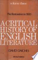 A Critical History Of English Literature : ...