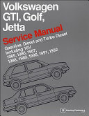 Volkswagen Gti Golf Jetta Service Manual 1985 1986 1987 1988 1989 1990 1991 1992