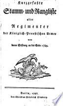Kurzgefasste Stamm- und Rangliste aller Regimenter der Königlich-Preussischen Armee