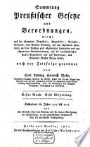 Sammlung preuszischer Gesetze und Verordnungen[1425-1818]