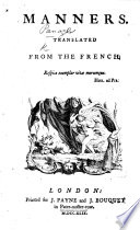 Manners  Translated from the French