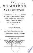 Memoires authentiques de la comtesse de Barr    maitresse de Louis XV  roi de France