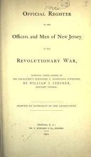 download ebook official register of the officers and men of new jersey in the revolutionary war (1872) pdf epub