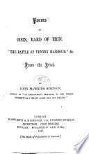 "Poems of Oisin, Bard of Erin. ""The Battle of Ventry Harbour,""&c. From the Irish. By J. H. Simpson"