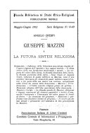 Giuseppe Mazzini e la futura sintesi religiosa