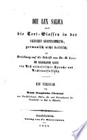 Die lex salica und die Textglossen in der salischen Gesetzsammlung germanisch nicht keltisch (etc.)