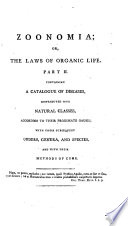Zoonomia  Or  The Laws of Organic Life