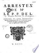 Arrestez de Mr le P  P  de L  Arrestez ou loix projett  es dans des conferences de Mr  le P  P  de L  pour le pays co  tumier de France    pour les provinces qui s y r  gissent par le droit   crit
