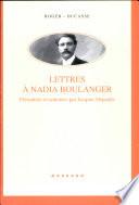 Lettres    Nadia Boulanger