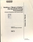 Building A Margin Of Safety Into Renewable Energy Procurements book