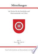 Mitteilungen des Vereins für die Geschichte und Altertumskunde von Erfurt, Heft 75