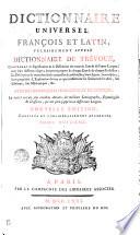 Dictionnaire Universel Fran  ois Et Latin  Vulgairement Appel   Dictionnaire De Tr  voux