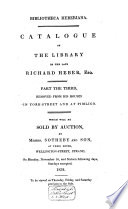 Auction catalogue, books of Richard Heber, 10 to 28 November 1834