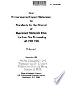 Environmental Impact Statement for Standards for the Control of Byproduct Materials Form Uranium Ore Processing  40 CFR 192