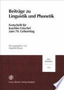 Beiträge zu Linguistik und Phonetik