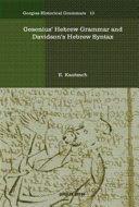 Gesenius  Hebrew Grammar and Davidson s Hebrew Syntax