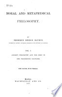 Moral and Metaphysical Philosophy Book PDF