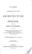 An attempt to discriminate the styles of architecture in England