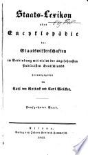 Staats Lexikon  oder Encyklop  die der Staatswissenschaften