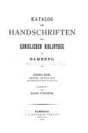 Katalog der Handschriften der Königlichen Bibliothek zu Bamberg
