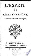 L Esprit De Saint Evremont