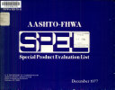 AASHTO FHWA Special Product Evaluation List