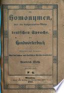 Die Homonymen, laut- oder klangverwandten Wörter der teutschen Sprache
