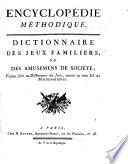 Encyclopedie methodique  ou par ordre de mati  res  Jeux familiers  Jeux math  matiques