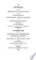 Appel    la nation anglaise sur le traitement   prouv   par Napol  on Bonaparte dans l   le de Sainte H  l  ne