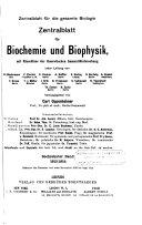 Zentralblatt für Biochemie und Biophysik