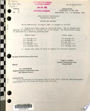 Army Aviation Maintenance Engineering Manual: Weight and Balance