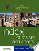 2010 2011 College Admissions Data Sourcebook Index of Majors   Sports