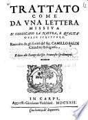 Trattato come da una lettera missiva si conoscano la natura  e qualita dello scrittore