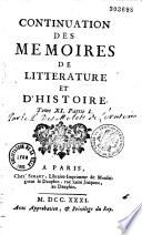 Continuation des Mémoires de littérature et d'histoire de Mr. de Salengre