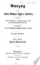 Auszug aus Johann Michael Hahn's Schriften