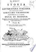 Storia della letteratura italiana     Girolamo Tiraboschi     Duca di Modena