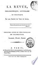 La Revue Philosophique  Litt  raire et Politique