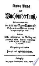 Anweisung zur Buchbinderkunst