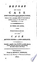 Report Of The Case John Dorrance Against Arthur Fenner Tried At The December Term Of The Court Of Common Pleas In The County Of Providence A D 1801